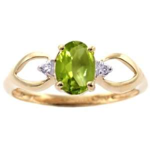 14K Yellow Gold Open Sided Oval Gemstone and Diamond Anniversary Ring