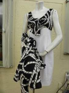 BOB MACKIE GORGEOUS BLACK WHITE BEADED DRESS JACKET SUIT