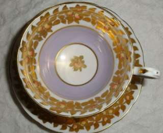Vintage Grosvenor Fine Bone China Cup Saucer England Lilac Peach Fruit