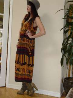 Vtg 70s Hippie Gauze INDIA Ethnic FESTIVAL Boho Maxi Dress