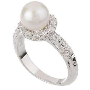 Tacori Epiphany Sterling Silver Diamonique Pearl Engraved Ring 8 W