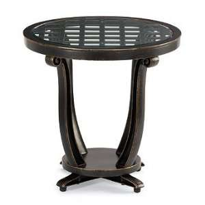 Glen Isle Glass overlay Outdoor Side Table in Midnight