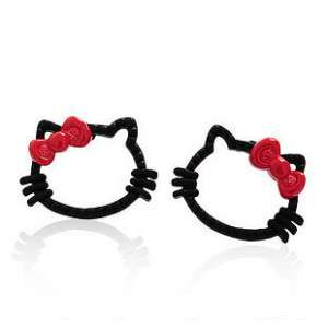 Cute Lovely Black Hello Ketty Red Bowknot Stud Earrings