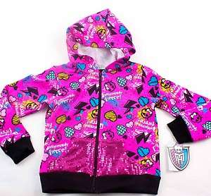 MONSTER HIGH Pink Girls HOODIE Sz S 6/6X M 7/8 L 10/12 Sequins Kids