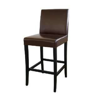 Dark Brown Full Leather Bar Stool
