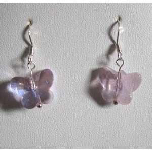 Pink Butterfly Swarovski Crystal Earrings