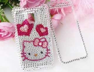 Bling Diamond Silver Kitty Heart Hard Case Skin For LG G2X OPTIMUS 2X