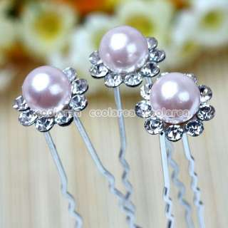 10p Crystal Pink Simulate Pearl Wedding Bridal Hairpins