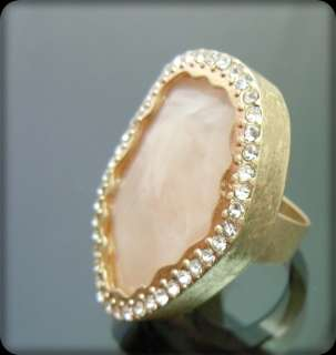Vintage Milky Pink Faux Stone Crystal Cocktail Ring NEW