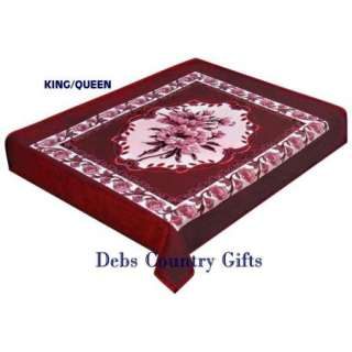 Red Rose Floral Plush Heavy Blanket King/Queen 77x91 024409982767