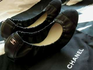 ™ Black Lambskin Leather Ballerina Flats 39/8M (Spring Summer 2012