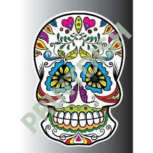 Sugar skull 2 2 sticker vinyl decal 5 x 3.4