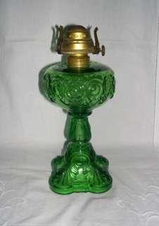 CANADIAN BULLSEYE GREEN GLASS OIL STAND LAMP   ANTIQUE