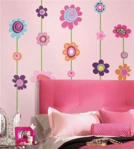 FLOWERS STRIPE 53 GiAnT Wall Stickers Room Decor Decals Borders Vines