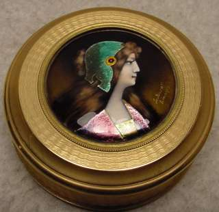 Superb Antique French Enamel Gilt Bronze Jewelry Box
