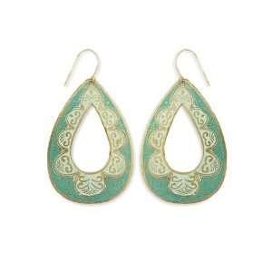 Green Enamel & Gold Metal Teardrop Earrings Zad Seasonal