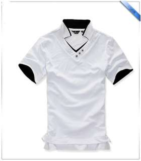 New Men Collision Stand up collar polo shirts Cross trim V neck tops