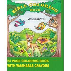 com Gods Creation Bible Coloring Book With Washable Crayons (Gods