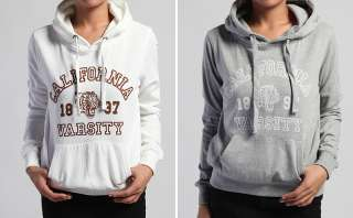 NEW Boho Casual CALIFORNIA Print Skinny Fit PULLOVER HOODIE Long