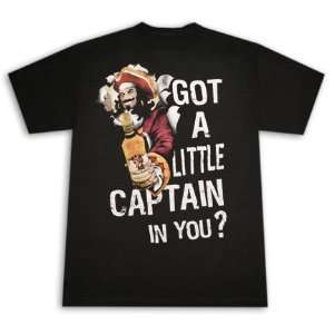 Captain Morgan Rum Got A Little Captain In You? Black T Shirt: