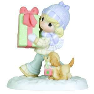 Precious Moments Girl With Gift Box And Puppy Figurine It