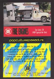 SPECIAL AIR UNIT Ford FIRE TRUCK ENGINE CARD San Jose, California CA
