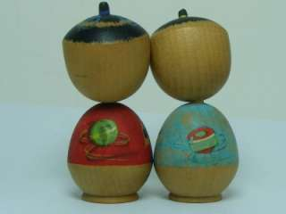NANAS Japanese Antique Kokeshi Doll Matching Pair Signed W Ball