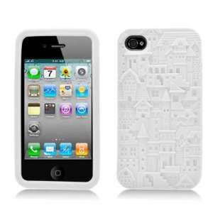 White Building Soft Silicone Laser Cut Skin for Apple