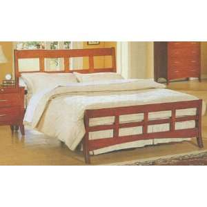Size Modern Style Bed in Dark Maple Wood finish: Furniture & Decor