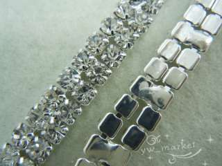 clear crystal rhinestone trims close chain silver ss16 x 1 yard
