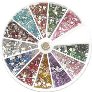 1500 3mm Square & Rectangle Nail Art Rhinestone Wheel Kit Beauty