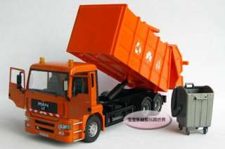 New 132 Man Garbage Truck Alloy Diecast Model Car With Box Orange