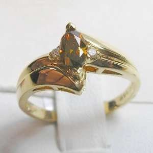 14K Yellow Gold Natural Champagne and White Diamond Ring Jewelry