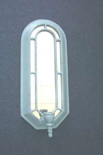 VINTAGE HOME INTERIOR CATHEDRAL SCONCE W MIRROR BLUE