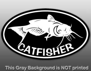 Oval Catfisher Sticker   decal cat fish hunter lover