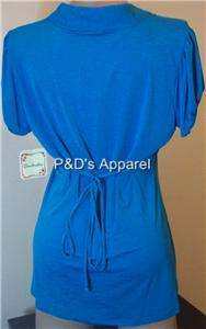 Womens Plus Size Soulmates Clothing Blue Ruffle Shirt Top Blouse 1X