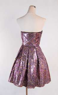 Betsey Johnson Sequin Leopard Runway Dress Size 12 Purple