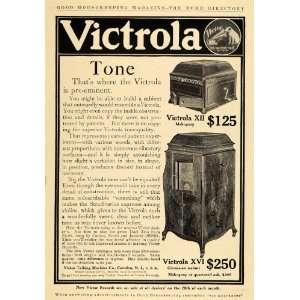 1910 Ad Victor Talking Machine Victrola XII & XVI Music   Original