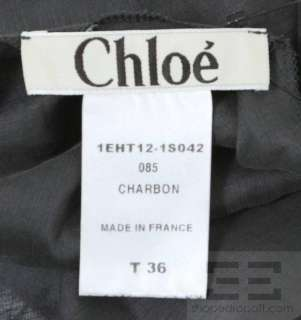 Chloe Charbon Grey Linen & Silk Draped Halter Top Size 36