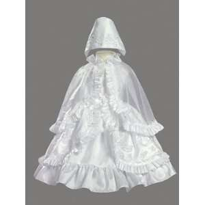 Taffeta Baptism or Christening Dress W/Ruffled Cape Baby