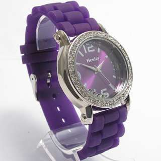 Henley Ladies Diamante Watch Floating stones Purple 167