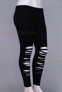 Front Ripped Laser cut Black Leggings Cotton Lycra. New