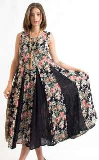 Vtg 90s Floral Revival India Gauze Gypsy Boho Hippie Festival Maxi