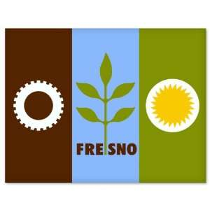 Fresno California City Flag car bumper sticker window