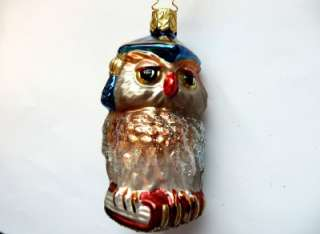 INGE GLAS PROFESSOR OWL GERMAN BLOWN GLASS CHRISTMAS TREE ORNAMENT