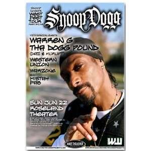 Snoop Dogg Poster   Wf Concert Flyer   West Fest Tour