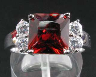 Christmas Gift Red Garnet Gem White Gold GP Cocktail Fashion Jewelry