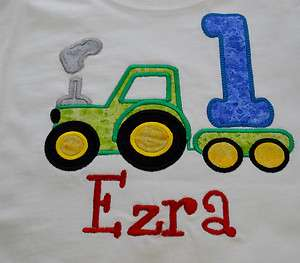 Applique Tractor Birthday Number Shirt 1 2 3 4 5 6 7 8 Custom Boutique