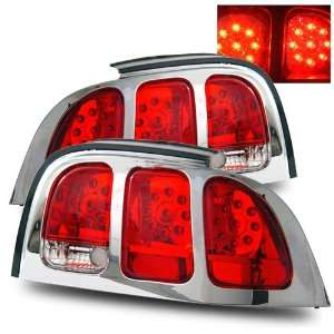 94 98 Ford Mustang Red/Clear LED Tail Lights Automotive