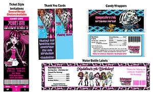 Monster High ~ Birthday Party Ticket Invitations, Supplies, and Favors